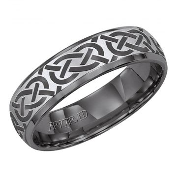 ArtCarved Gray Tungsten Carbide 6mm Celtic Style Wedding Band