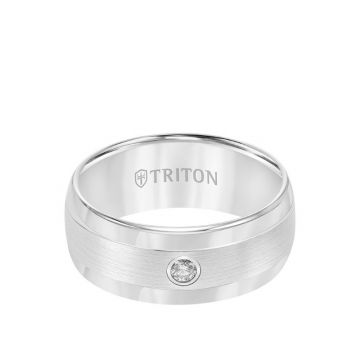Triton White Tungsten Carbide Diamond Wedding Band