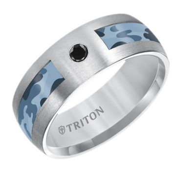 Triton Tungsten Carbide Wedding Band with Black Diamonds