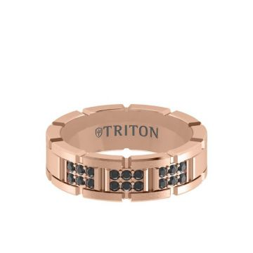 Triton Rose 14K Gold Diamond Wedding Band