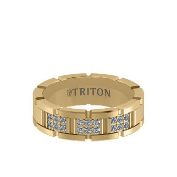 Triton Yellow 14K Gold Diamond Wedding Band