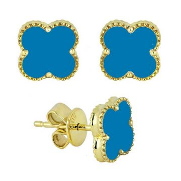 Madison L 14k Yellow Gold Turquoise Earring