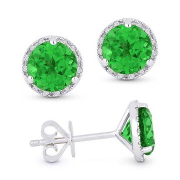 Madison L 14k White Gold Emerald Earring
