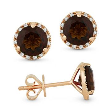 Madison L 14k Rose Gold Smokey Topaz Earring