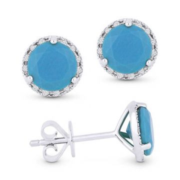 Madison L 14k White Gold Turquoise Earring