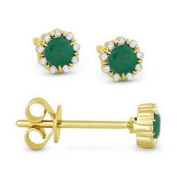 Madison L 14k Yellow Gold Emerald Earring