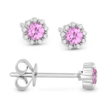 Madison L 14k White Gold Pink Sapphire Earring