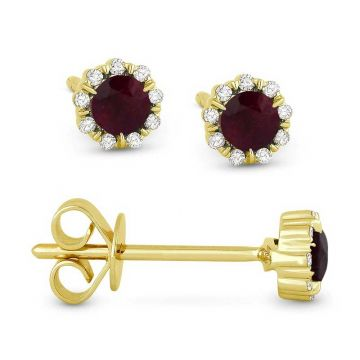 Madison L 14k Yellow Gold Ruby Earring