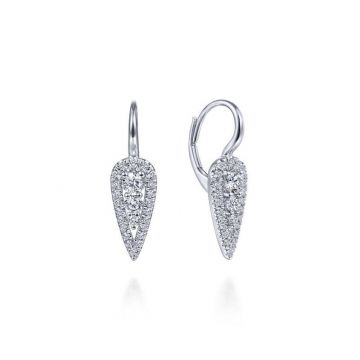 Gabriel & Co. 14k White Gold Lusso Diamond Drop Earrings
