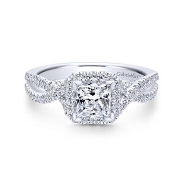 Gabriel & Co. 14k White Gold Entwined Criss Cross Engagement Ring