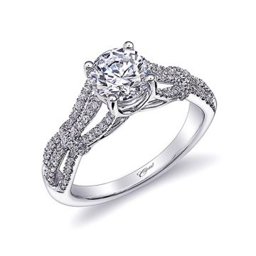 14k White Gold Coast Diamond 0.31ct Diamond Semi-Mount Fishtail Engagement Ring