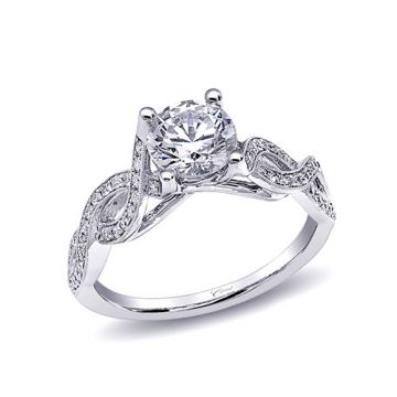 14k White Gold Coast Diamond 0.27ct Diamond Semi-Mount Fine Pave Milgrain Engagement Ring