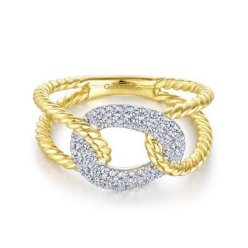 Gabriel & Co. 14k Two Tone Gold Hampton Diamond Ring