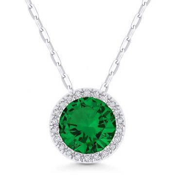 Madison L 14k White Gold Emerald Pendant