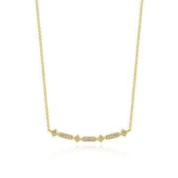 Gabriel & Co. 14k Yellow Gold Art Moderne Diamond Bar Necklace