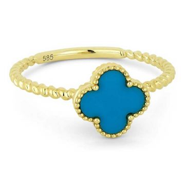Madison L 14k Yellow Gold Turquoise Ring