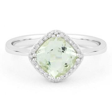 Madison L 14k White Gold Green Amethyst Ring