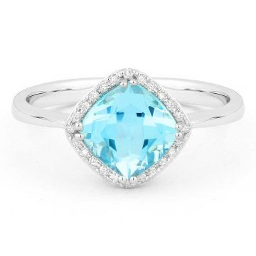 Madison L 14k White Gold Swiss Blue Topaz Ring