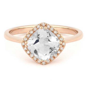 Madison L 14k Rose Gold White Topaz Ring