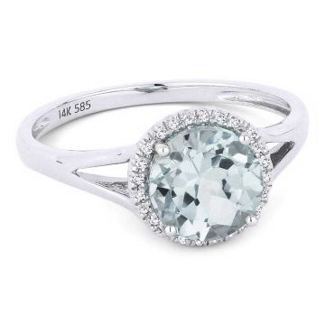 Madison L 14k White Gold Aquamarine Ring