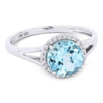 Madison L 14k White Gold Blue Topaz Ring