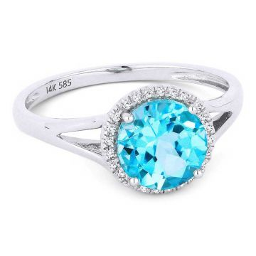 Madison L 14k Yellow Gold Swiss Blue Topaz Ring