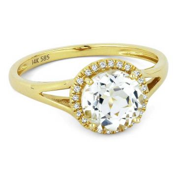 Madison L 14k Yellow Gold White Topaz Ring