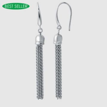 Charles Garnier Sterling Silver & Rhodium Drop Earrings