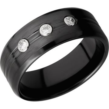 Lashbrook Black Zirconium Diamond 8mm Men's Wedding Band