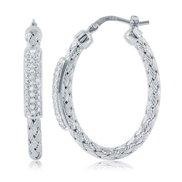 Charles Garnier Sterling Silver with CZ Nardini Ov Earrings