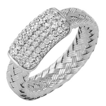 Charles Garnier Sterling Silver with CZ Rose Ring