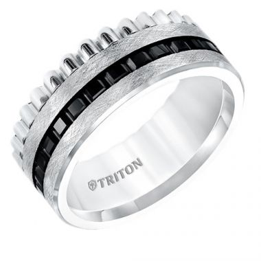 Triton Multi Textured Flat Two Tone Tungsten Carbide Wedding Band