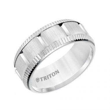 Triton Multi Piece White Tungsten Carbide Wedding Band