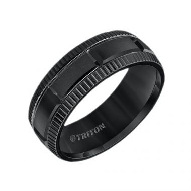 Triton Black Tungsten Carbide Wedding Band