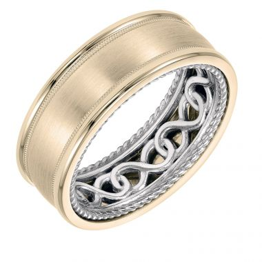ArtCarved 14k Two Tone Gold Carved Inside, Satin and Polished Outside Wedding Band