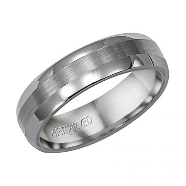 ArtCarved Gray Tungsten Carbide 6mm Comfort Fit Wedding Band