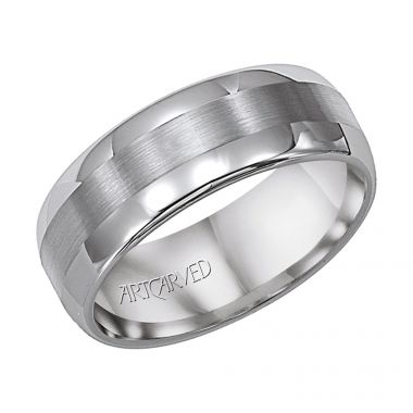 ArtCarved Gray Tungsten Carbide 8mm Satin Finished Inlay Wedding Band