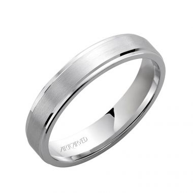 ArtCarved 14k White Gold Comfort Fit Brushed Center Wedding Band