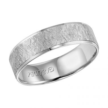 ArtCarved 14k White Gold Comfort Fit Carved Wedding Band