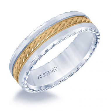 ArtCarved 14k Two Tone Gold Men's Fancy Wedding Band