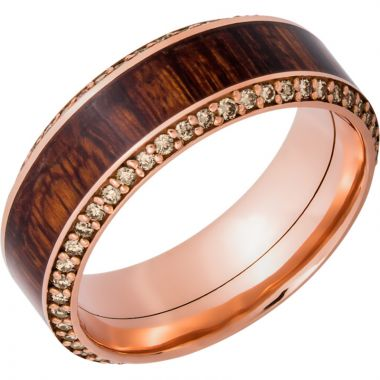 Lashbrook 14k Rose Gold Hardwood 8.5mm Men's Wedding Band