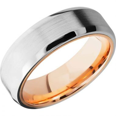 Lashbrook Rose & White Cobalt Chrome 7mm Men's Wedding Band