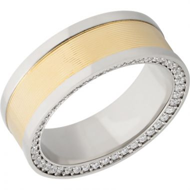 Lashbrook White & Yellow 14k Gold 8mm Men's Wedding Band