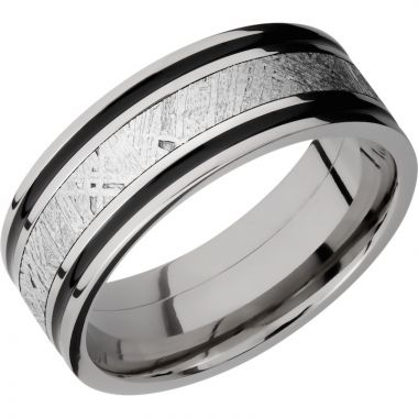 Lashbrook Titanium Meteorite 8mm Men's Wedding Band