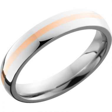 Lashbrook Rose & White Cobalt Chrome 4mm Men's Wedding Band