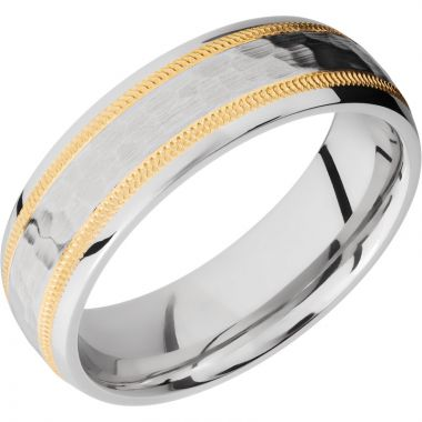 Lashbrook White & Yellow Cobalt Chrome 7mm Men's Wedding Band