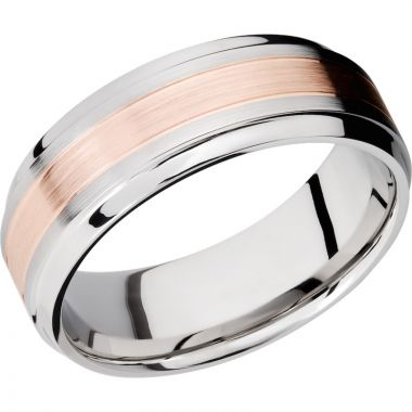 Lashbrook Rose & White Cobalt Chrome 8mm Men's Wedding Band