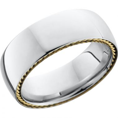 Lashbrook White & Yellow Cobalt Chrome 8mm Men's Wedding Band