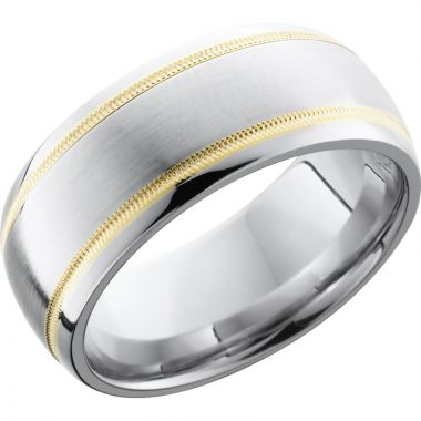 Lashbrook White & Yellow Cobalt Chrome 9mm Men's Wedding Band