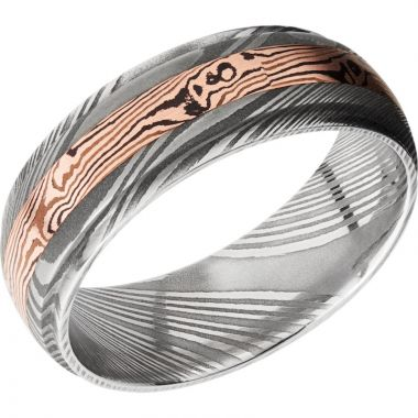 Lashbrook Black White & Yellow Damascus Steel 7mm Men's Wedding Band